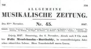 Announcement Mendelssohn Death
