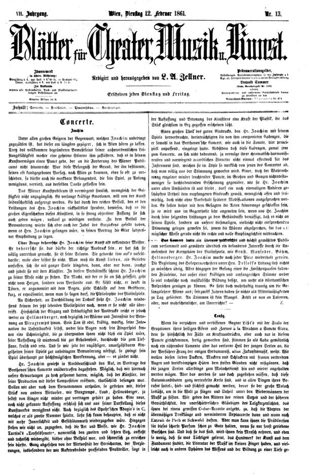 Blätter für Theater Vienna 12 Feb. 1861 copy
