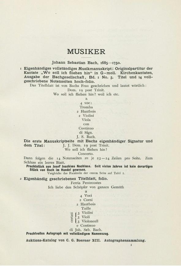 BWV 5 Auction Catalog copy